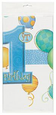 1st Birthday Blue Balloons Theme Party Plastic Tablecover